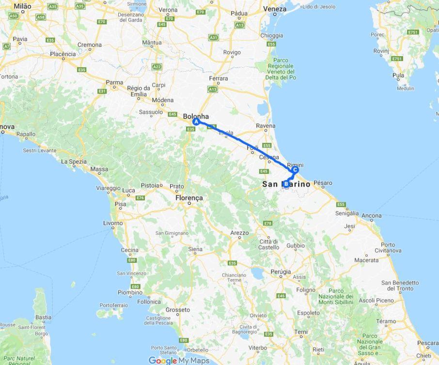 mapa do trajeto de carro de Bolonha para San Marino e Rimini